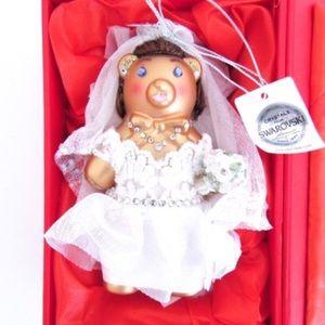 Swarovski Crystals Wedding Bride Bear Ornament